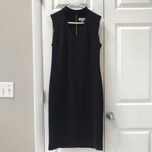 "Calvin Klein Black ""Collar"" V-Neck Shift Dress"
